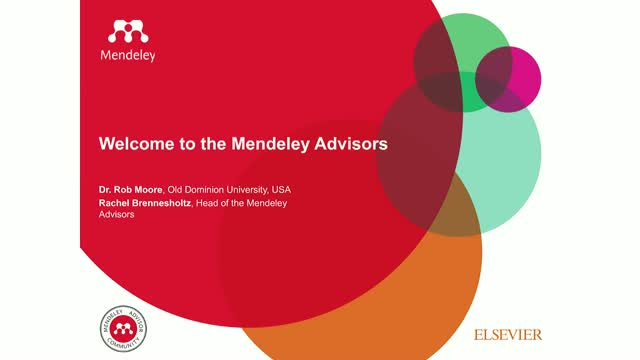 Introduction to the Mendeley Advisors  (PM session)