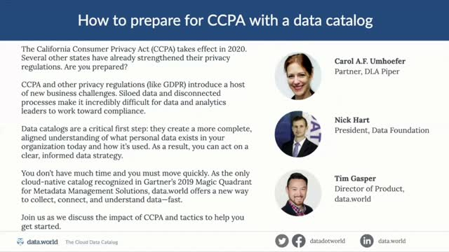 How to Prepare for CCPA with a Data Catalog