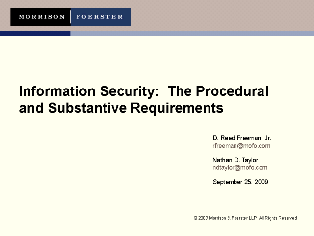 Data Security and Breach Notification Management in Q3, 2009