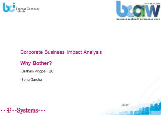 Corporate Business Impact Analysis-Why Bother?