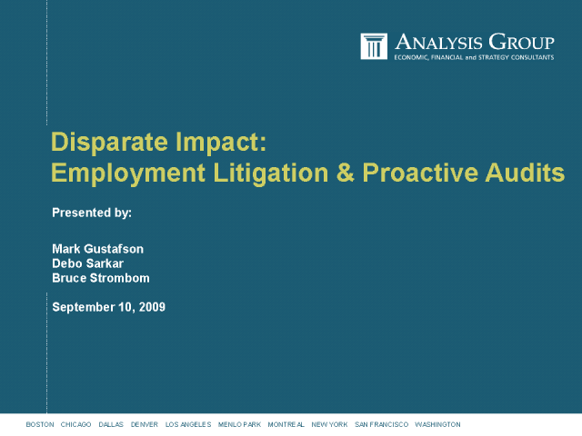 Disparate Impact: Employment Litigation & Proactive Audits