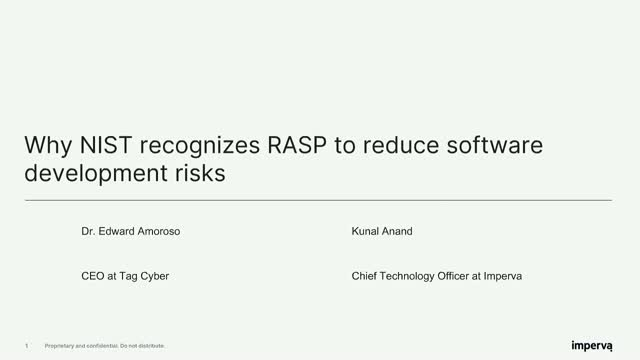 Why NIST recognizes RASP to reduce software development risks