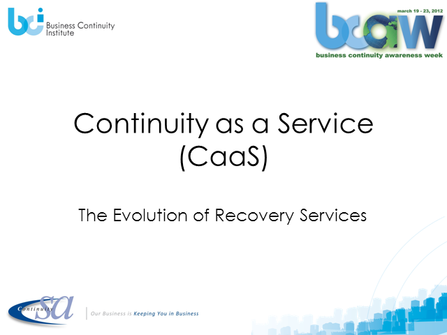 Continuity as a Service (CaaS)