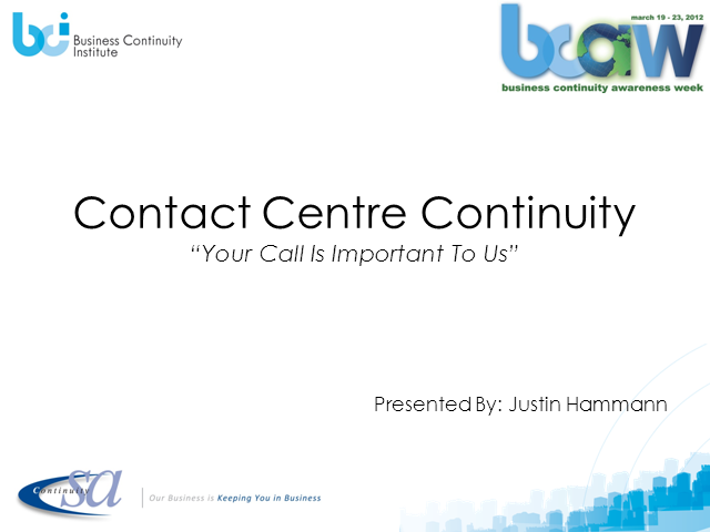 Contact Centre Continuity