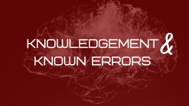 Knowledge Management & Known Errors