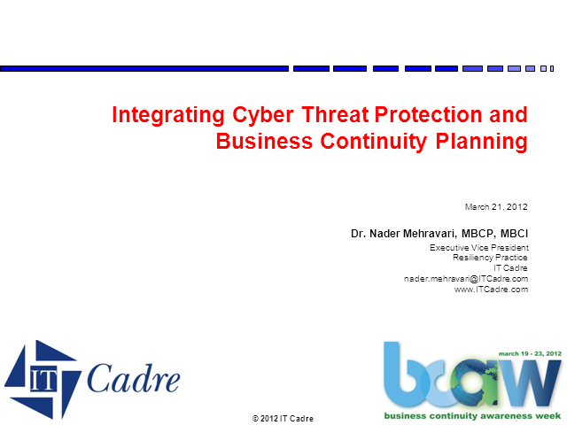Integrating Cyber Threat Protection and Business Continuity Planning