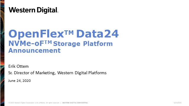 OpenFlex™ Data24 NVMe-oF™ Storage Platform Announcement