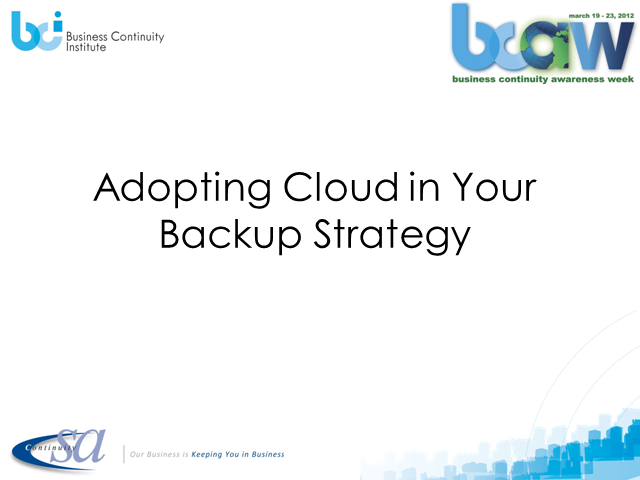 Adopting Cloud In Your Backup Strategy