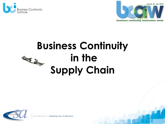 Business Continuity in the Supply Chain