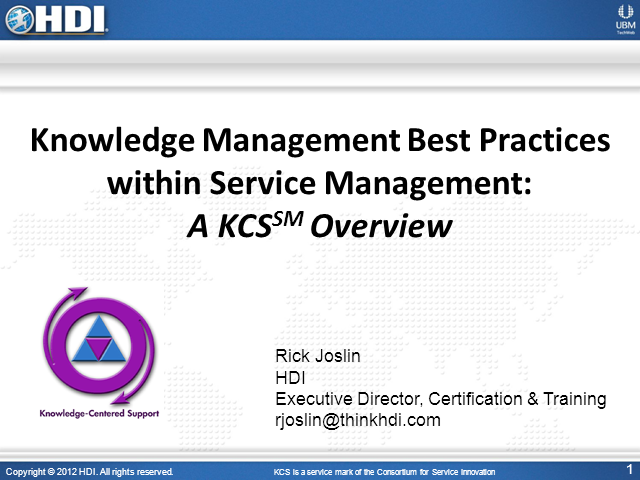 Pittsburgh LIG: Knowledge Management Best Practices within Service Management
