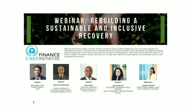 Rebuilding a sustainable and inclusive recovery