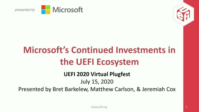 Microsoft's Continued Investments in the UEFI Ecosystem