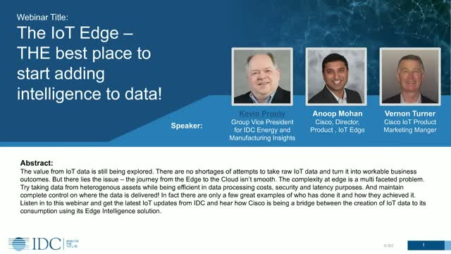 Cisco IoT: The IoT Edge THE best place to start adding intelligence to data!
