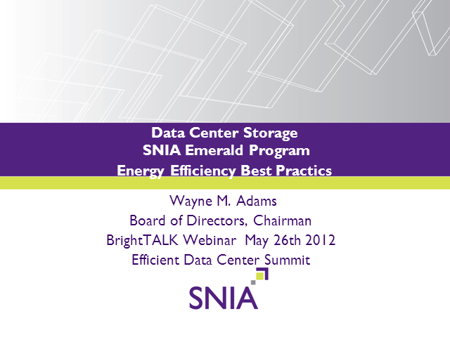 Storage Best Practices for Energy Efficiency