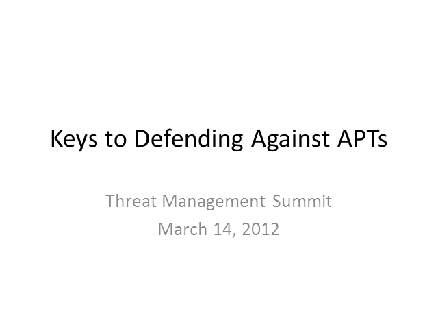 Defending Against APTs: Understanding Your Enemy's Plan of Attack