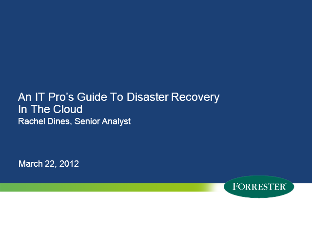 An IT Pro's Guide to Disaster Recovery in the Cloud