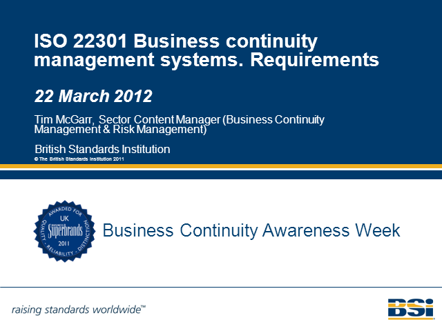 ISO 22301 Business Continuity Management Systems