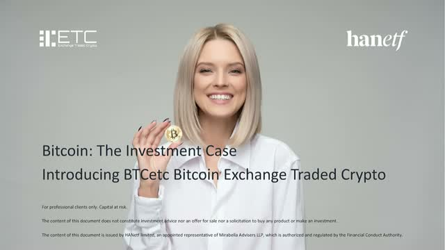 Bitcoin: The Investment Case |  Introducing BTCE Bitcoin ETP