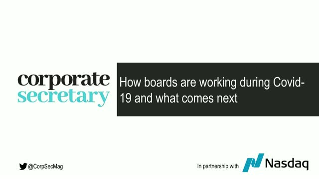 Webinar – How boards are working during Covid-19 and what comes next