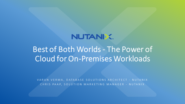 Best of Both Worlds - The Power of Cloud for On-Premises Workloads
