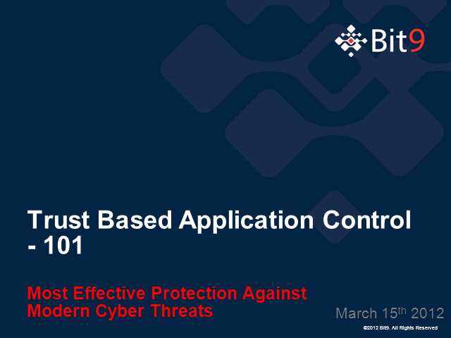 Trust-Based Application Control 101