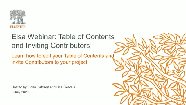 Elsa Webinar: Table of Contents and Inviting Contributors