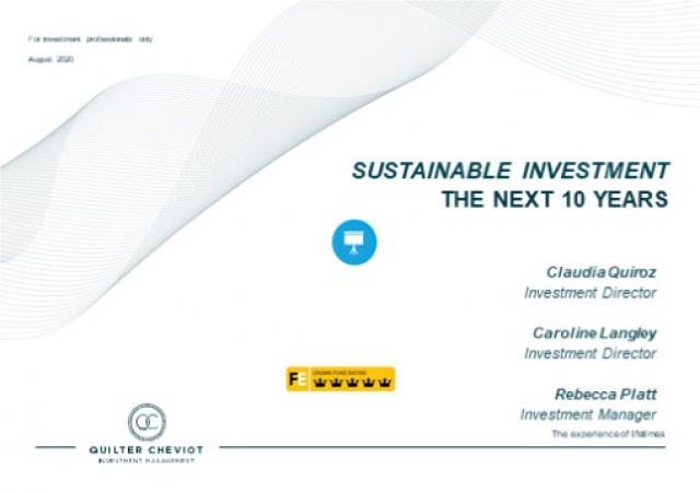SUSTAINABLE INVESTMENT - Portfolio Positioning For The Next 10 Years