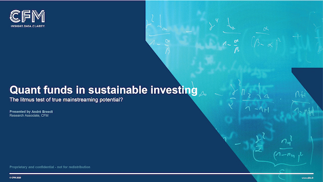 Quant funds in sustainable investing: the litmus test