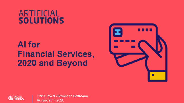 AI for Financial Services, 2020 and Beyond