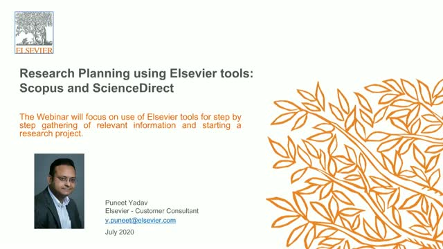 Research Planning using Elsevier tools : Scopus and ScienceDirect
