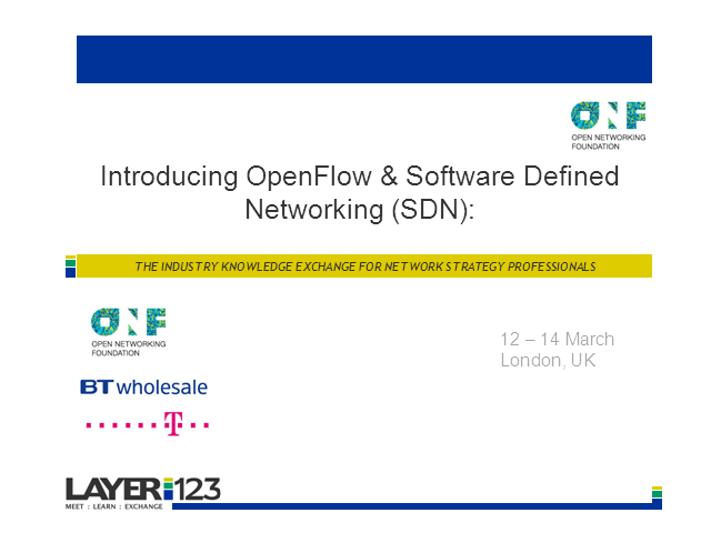 Introduction to OpenFlow and SDN