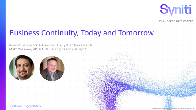 Business continuity, Today and Tomorrow