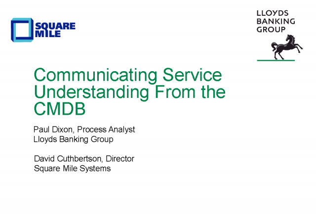 Communicating Service Understanding from the CMDB