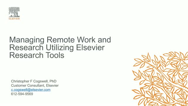 Managing Remote Work and Research Utilizing Elsevier Research Tools