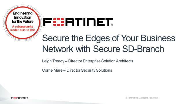 Secure the Edges of Your Business Network with Secure SD-Branch