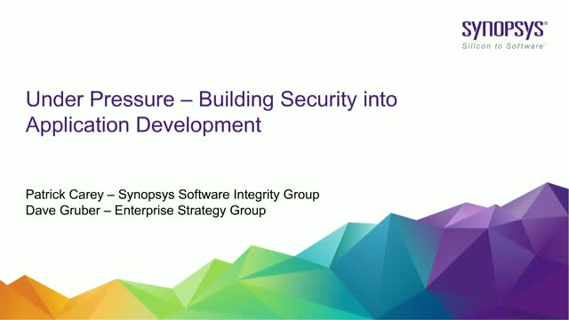 Under Pressure – Building Security into Application Development
