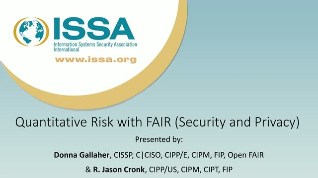 Quantitative risk with FAIR (Security and Privacy)
