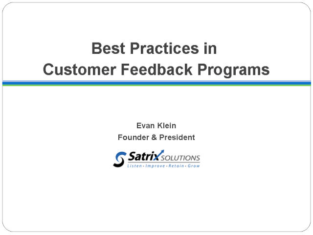 Best Practices in Customer Feedback Programs