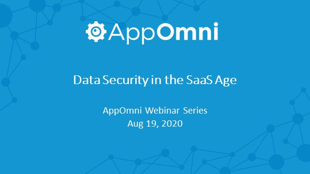 Data Security for the SaaS Age