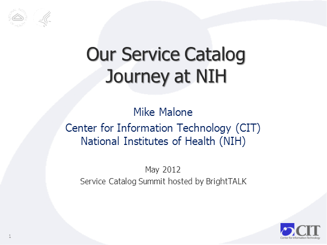 Our Service Catalog Journey at the National Institutes of Health