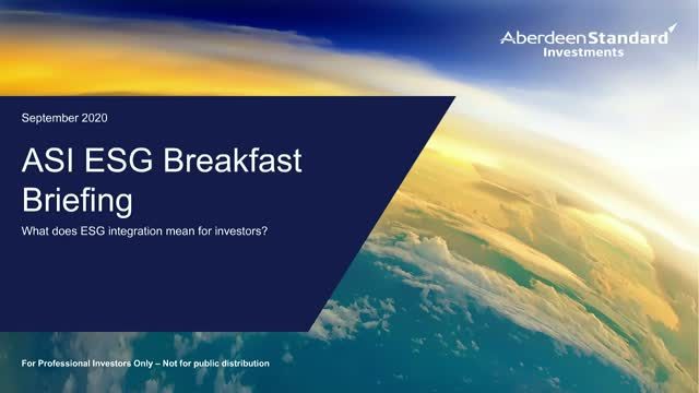 Breakfast briefing: What does ESG integration mean for investors?