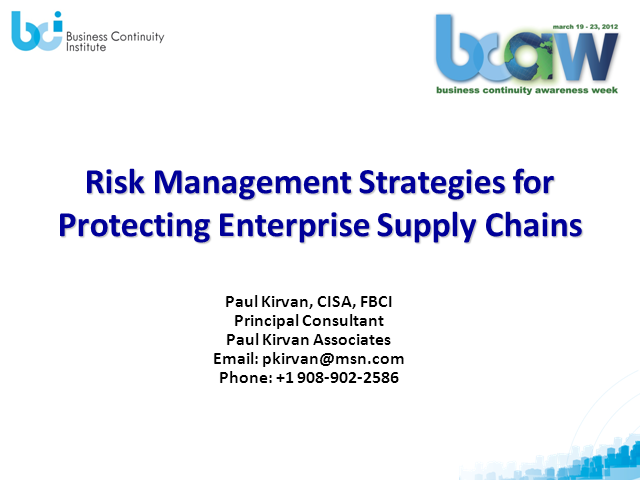 Risk Management Strategies for Protecting Enterprise Supply Chains