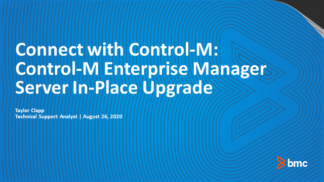 Connect With Control-M: In-Place Upgrade of Control-M/Enterprise Manager Server