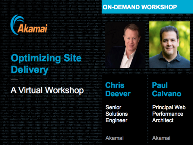 Optimizing Site Delivery - A Virtual Workshop