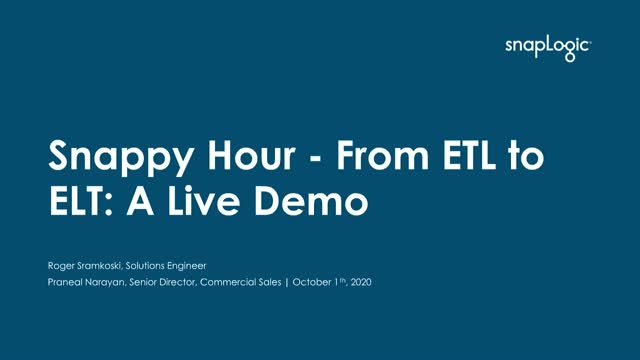 Snappy Hour -  From ETL to ELT: A Live Demo