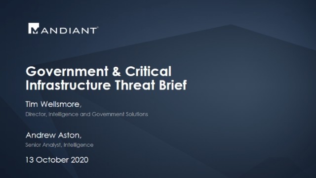 Australian Government and Critical Infrastructure Intelligence Briefing