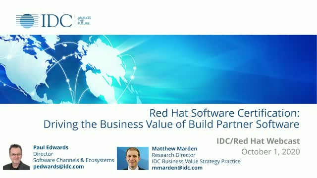 IDC study shows business results to build, certify, and partner with Red Hat
