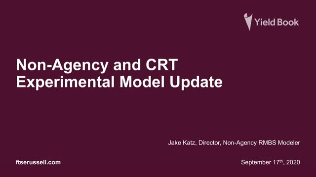 Yield Book Non-Agency and CRT Experimental Model Update
