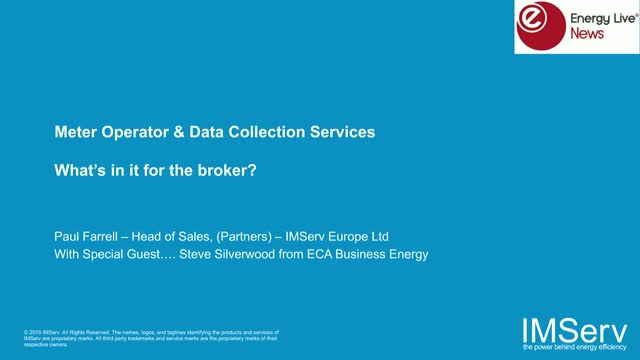 Meter Operator and Data Collection Services. What's in it for the Broker?