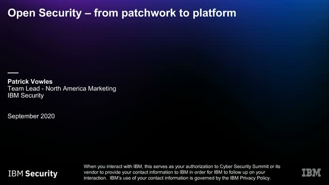 Open Security – From Patchwork to Platform Abstract